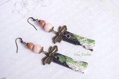 Peach Bow earrings jade ceramic rose wood Cute by CocoFlowerShop