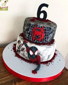 Spiderman a New Universe Cake! By Cakesbyme Spiderman Birthday Cake, Superhero Birthday Party, 6th Birthday Parties, Birthday Party Decorations, Miles Morales, Aries Birthday, Avenger Cake, Man Party, Emilio