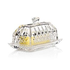 """Waterford Crystal """"Lismore"""" Covered Butter Dish 