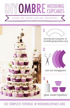 DIY Ombre Wedding Cupcakes. Get the free template at the Wedding Cupcake Blog – Dedicated to DIY Wedding Cupcake Ideas, Decorations & Recipes wedding cupcakes.org