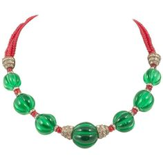 Preowned Moghul Style Emerald And Ruby Glass Necklace, Chanel, 1930s ($8,591) ❤ liked on Polyvore featuring jewelry, necklaces, beaded necklaces, green, emerald green necklace, emerald bead necklace, green beads necklace, graduation necklace and ruby beads necklace