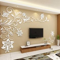 Acrylic Wonderful TV Background Flower Decoration Wall Stickers for Home Decor