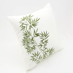 Bamboo Throw Pillow Cover Cream Linen Green Bamboo by KainKain