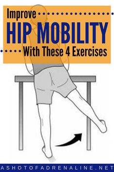 Ready to improve hip flexibility? Decreased hip mobility can be a huge causing factor of lower back pain so I've got you covered with these 4 basic hip mobility exercises that anyone can do! Head over to the blog to watch the follow along videos and add these hip exercises into your routine today to improve range of motion and decrease pain! #hipstrengthening #hipphysicaltherapy #reducejointpain