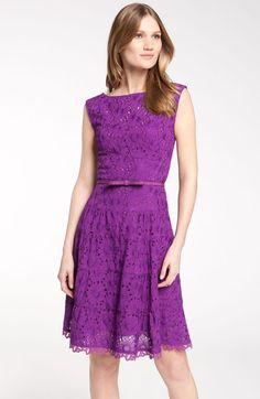 Nanette Lepore Balloon Belted Lace Dress in Purple (violet) - Lyst