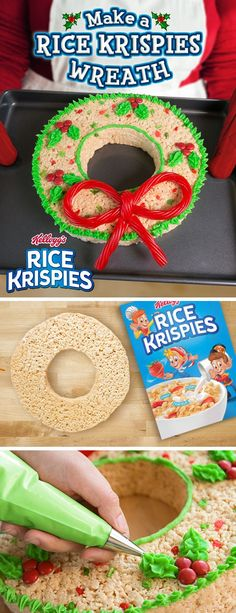 Send your neighbors good tidings this year with Rice Krispies Treats #wreaths . Save some time this #Christmas by using a Bundt cake pan.