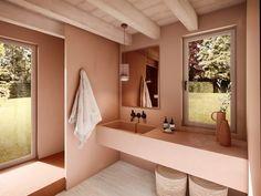 35 Adorable DIY Shell Projects for Beach Inspired Decor - The Trending House Diy Bathroom, Bathroom Wallpaper, Bathroom Trends, Small Bathroom Decor, Small Bathroom, Shop Interiors, Bathroom Design, Bathroom Decor, Boho Bathroom