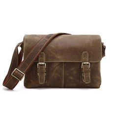 Crazy Horse Leather Unisex Shoulder Bag in Brown