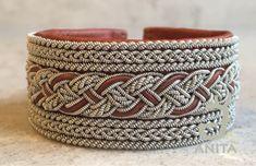 Sikfors - Swedish Sami Lapland bracelet handmade of reindeer leather, pewter and antler button.