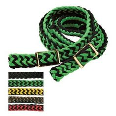 """Braided Barrel Racing Rein - ¾"""" x 8' Purple/Black by Valley Vet Supply. $12.95. Flat-end, nylon-braided rein with four easy grip knots and solid brass hardware. Manufacturer Part Numbers: 39056"""