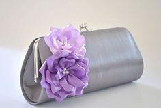 Gray and Shades of Purple / Bridal clutch / Bridesmaid by Vanijja