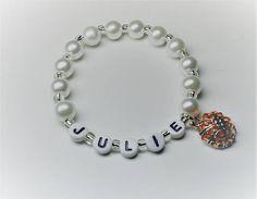 Basketball charm name bracelet girls beaded name bracelet with