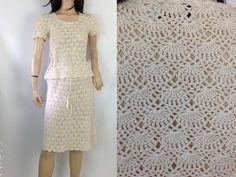 Crochet Dress Vintage 70s Dress Matching Set Top and Skirt Short Cream Dress Peplum Blouse Peplum Dress  S small
