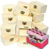 Mini Wooden Treasure Chests Bulk Pack