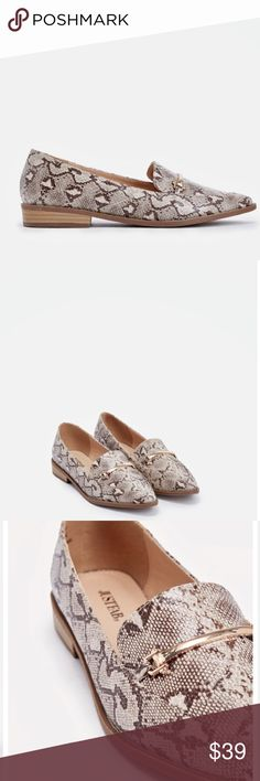 """ADRINA SNAKE PRINT LOAFER SHOES New! Just Fab. You can never go wrong with a classic loafer. These are perfect for workdays or casual days off. Approx. Heel Height: 1.0"""". ( not zara ) tags- forever21 asos public desire TheLoft Express Zara Shoes Flats & Loafers"""