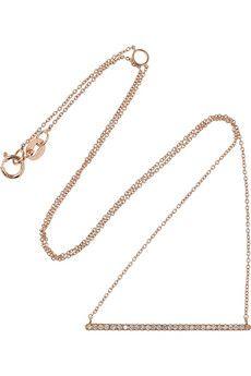 diane kordas rose gold diamond bar necklace