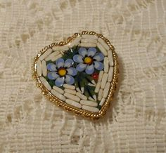 ON SALE Vintage Micro Mosaic Heart Brooch by ViksVintageJewelry, $21.24