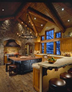 Finally my Perfect Kitchen!!     Amazing Contemporary Lodge with Classic Reinterpreted Interior : Sleek Traditional Kitchen Design Wooden Floor Mountain Lodge