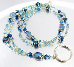 Blue Aqua Topaz and Gold Crystal Beaded Lanyard ID Badge Beaded Shoes, Beaded Jewelry, Jewelry Necklaces, Beaded Necklace, Beaded Bracelets, Glass Bead Crafts, Fashion Necklace, Fashion Jewelry, Lanyard Necklace