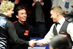Stephen Hendry is congratulated by former champs Neil Robertson (left) and Ken Doherty after his 147.  SEVEN-TIME winner Stephen Hendry shrugged off jetlag to fire a magical 147 break yesterday.  [Published: 22nd April 2012]