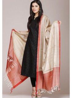 Beige Tussar Silk Dupatta With A Orange Border Salwar Designs, Kurta Designs Women, Kurti Designs Party Wear, Blouse Designs, Indian Attire, Indian Ethnic Wear, Indian Outfits, Hippy Chic, Indian Designer Suits
