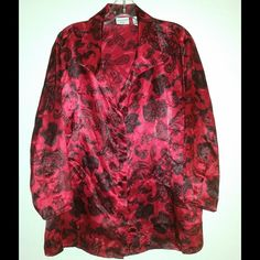 """Covington Woman long sleeve blouse size 20/22 Covington Woman long sleeve button down blouse size 20/22. Red/black excellent condition. Has buttons on each sleeve. Bust 42"""" Sleeves 21"""" Length 28"""" 100% Polyester. Covington Tops Blouses"""