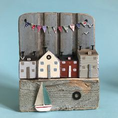 Harbour view, wall plaque #lorainespick #shabbydaisies #shabbychic #handmade #harbour #driftwoodart #rusticart #driftwoodcottage #bunting #sailboat #driftwood #seagulls #seaside