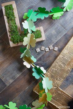 DIY Paper Shamrock Garland - Lia Griffith