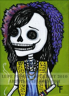JANIS JOPLIN Day of the Dead Skeleton woodstock by ArtByLupeFlores, $6.99