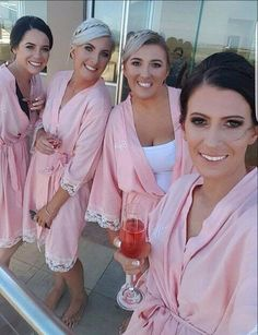 Personalised front vintage cotton and Lace bride and bridesmaid robes #cotton-robes #Personalised-robes #robes