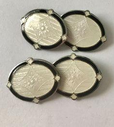 F.A. Hermann Co. CUFFLINKS Guilloche Enamel Sterling Art Deco Edwardian BLACK & White Double Sided Cuff Links by jewelryannie on Etsy