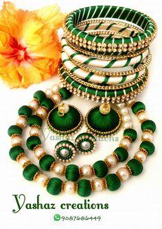 For reference Silk Thread Bangles Design, Silk Thread Necklace, Silk Bangles, Beaded Necklace Patterns, Thread Jewellery, Jewelry Patterns, Beaded Jewelry, Necklace Designs, Pearl Jewelry