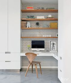 Home office ideas modern study nook super ideas Home Office Space, Home Office Design, Kitchen Office Nook, Corner Office, Desk Office, Office Storage, Small Office, Built In Desk, Built Ins