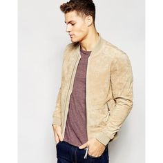 Esprit Suede Bomber Jacket ($203) ❤ liked on Polyvore featuring men's fashion, men's clothing, men's outerwear, men's jackets, beige, mens suede bomber jacket, tall mens jackets, mens suede leather jacket, mens zip up jacket and mens suede jacket