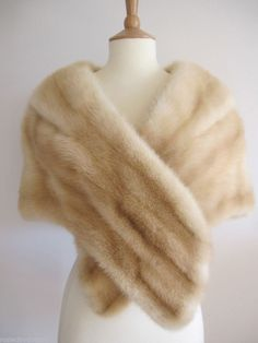 Coming soon on ebay VTG PALOMINO CREAM BLONDE REAL FUR MINK STOLE WRAP CAPE SHRUG WEDDING
