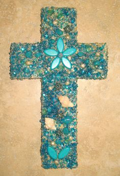 Jeweled Turquoise Wall Cross