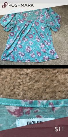 Kimchi Blue Floral Blue Blouse Airy Top with flowy sleeves and pink floral design. Perfect with flare jeans or a denim skirt. Bought at Urban Outfitters Kimchi Blue Tops Blouses
