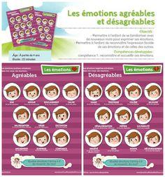 Votre enfant exprime ses émotions par des cris, des coups, des pleurs ou il fait la tête? Ces affiches d'émotions agréables et désagréables lui permettront de développer son vocabulaire des émotions pour apprendre à exprimer en mots ce qu'il ressent en plus d'apprendre à reconnaître les expressions faciales manifestées par ceux qui l'entourent. Offert en téléchargement seulement. Pour usage domestique uniquement. Professionnels, informez-vous sur la trousse PRO.