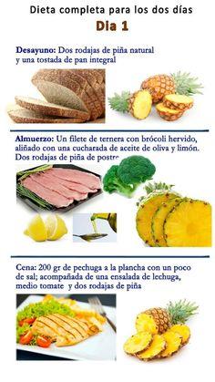 Dieta de la Piña, menú día 1