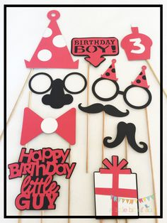 Birthday Boy Red And White Photo Booth Props by ALittleBitOfAud on Etsy