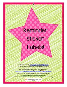Sticker labels to remind parents and students of important school and classroom events