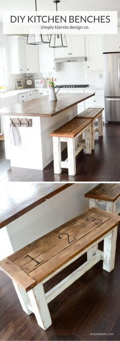 Kitchen Lighting Ideas Check out the tutorial on how to make a DIY kitchen bench - These charming farmhouse style kitchen benches are perfect up at your island! They're easy to make, clean, and give you extra seating space! Kitchen Paint, Kitchen Redo, New Kitchen, Kitchen Storage, Kitchen Ideas, Kitchen Organization, Country Kitchen, Floors Kitchen, Kitchen Makeovers
