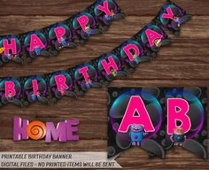 Home Movie Banner.Printable DreamWorks Home Birthday Banner.Oh and Tip Birthday Party Decorations.Boov Party Banner.Birthday Banner for Girl