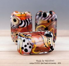 Wild Africa - Art Glass - 3 focal beads by Michou P. Anderson by michoudesign on Etsy