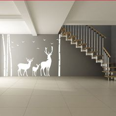 Vinyl Wall Decal Tree, Bushes, Birds & Deer Silhouette / Nature Reindeer Family Art