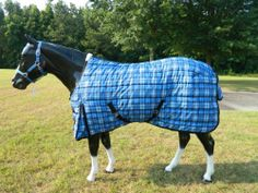 """84"""" BLUE RIDGE STABLE BLANKET by Lami-Cell. $69.99. 2 belly surcingles, shoulder gussets, tail flap, detachable leg straps, fleece withers. Nylon Lining. 2 buckle front closure with velcro. 600 Denier Polyester. 220G Fill"""