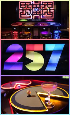 Pac-Man Battle Royale 4 Player Arcade Area - Namco's Level 257 PacMan themed restaurant.
