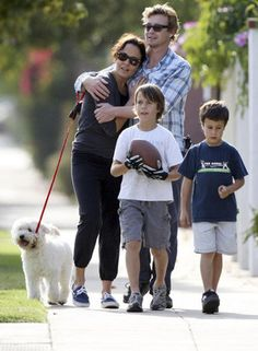 The Mentalist star Simon Baker with wife Rebecca Rigg and their two sons Claude 11 and Harry 8 were spotted going for a stroll in Los Angeles on Friday.