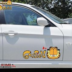2Pcs Car Sticker Cartoon Garfield Sticker