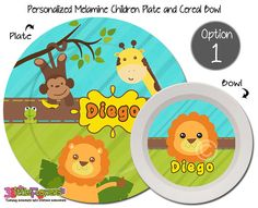 Jungle Plate and Bowl Set - Safari Mix and Match Plates - Personalized Melamine Children Plate and Cereal Bowl - Kids Dishes for Mealtime  sc 1 st  Pinterest & Personalized Unicorn Plate and Bowl Set - Personalized Plastic ...